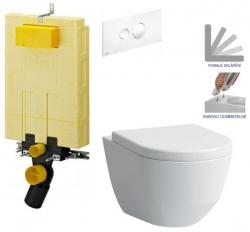 AKCE/SET/VIEGA - SET MONO modul WC čelní ovládání + ovládací tlačítko BÍLÉ + WC LAUFEN PRO + SEDÁTKO (V606732BI LP3)