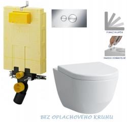 AKCE/SET/VIEGA - SET MONO modul WC čelní ovládání + ovládací tlačítko CHROM + WC LAUFEN PRO RIMLESS + SEDÁTKO (V606732CR LP1)