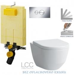 AKCE/SET/VIEGA - SET MONO modul WC čelní ovládání + ovládací tlačítko CHROM + WC LAUFEN PRO LCC RIMLESS + SEDÁTKO (V606732CR LP2)