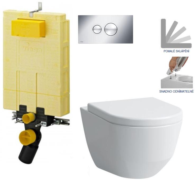 MONO modul WC čelní ovládání + ovládací tlačítko CHROM + WC LAUFEN PRO + SEDÁTKO (V606732CR LP3) - AKCE/SET/VIEGA