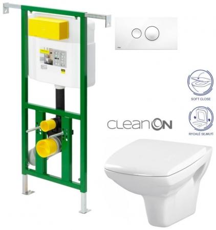 AKCE/SET/VIEGA - Eko PLUS modul do jádra WC čelní ovládání  SET BÍLÉ + ovládací tlačítko BÍLÉ + WC CERSANIT CARINA CLEANON + SEDÁTKO (V622176BI CA2)