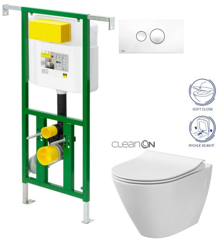 AKCE/SET/VIEGA - Eko PLUS modul do jádra WC čelní ovládání  SET BÍLÉ + ovládací tlačítko BÍLÉ + WC CERSANIT CITY CLEANON + SEDÁTKO (V622176BI CI1)