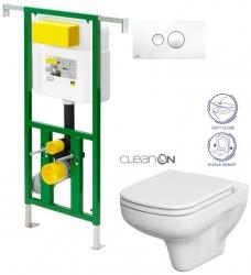 Eko PLUS modul do jádra WC čelní ovládání  SET + ovládací tlačítko BÍLÉ + WC CERSANIT COLOUR CLEANON + SEDÁTKO (V622176BI CN1) - AKCE/SET/VIEGA