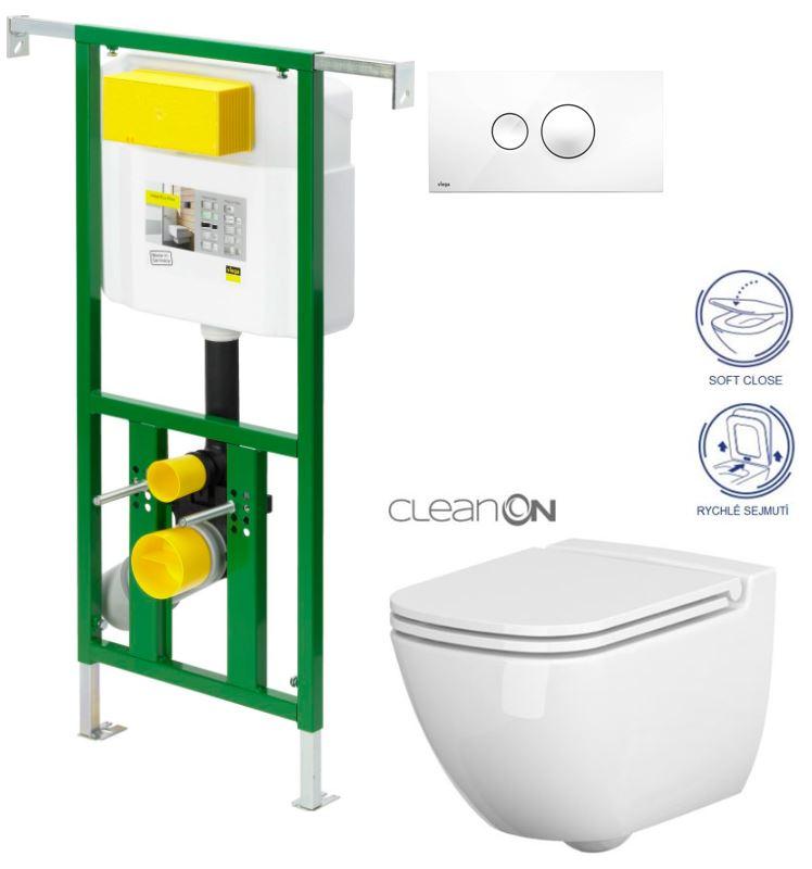 AKCE/SET/VIEGA - Eko PLUS modul do jádra WC čelní ovládání  SET BÍLÉ + ovládací tlačítko BÍLÉ + WC CERSANIT CASPI CLEANON + SEDÁTKO (V622176BI CP1)