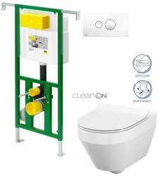 AKCE/SET/VIEGA - Eko PLUS modul do jádra WC čelní ovládání  SET BÍLÉ + ovládací tlačítko BÍLÉ + WC CERSANIT CREA OVÁL CLEANON + SEDÁTKO (V622176BI CR1)