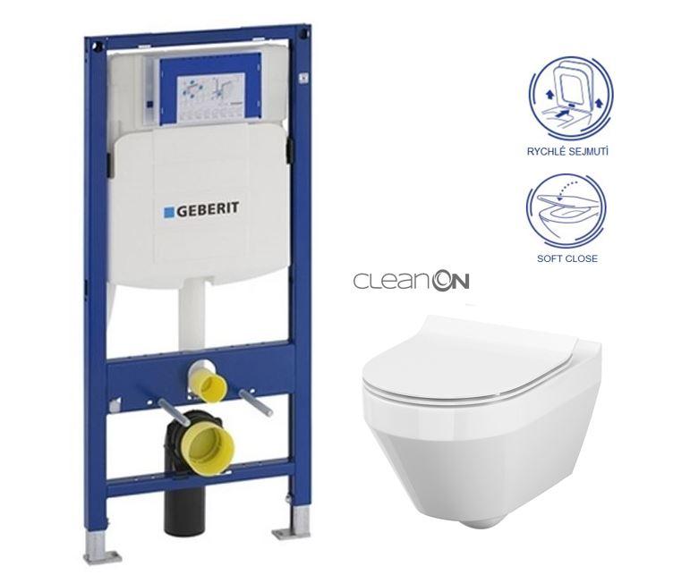 AKCE/SET/GEBERIT - Duofix pro závěsné WC 111.300.00.5 CR + klozet a sedátko CERSANIT CREA OVAL CLEANON /K114-015+K98-0177/ (111.300.00.5 CR1)