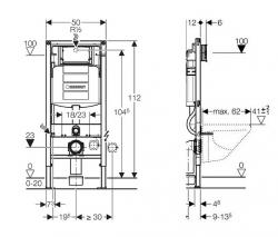 AKCE/SET/GEBERIT - SET Duofix pro závěsné WC 111.300.00.5 CR + klozet a sedátko CERSANIT CREA OVAL CLEANON /K114-015+K98-0177/ (111.300.00.5 CR1), fotografie 6/8