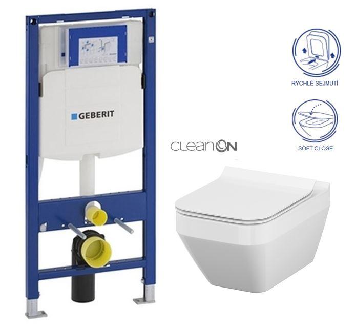 Duofix pro závěsné WC 111.300.00.5 CR + klozet a sedátko CERSANIT CREA HRAN. CLEANON /K114-016+K98-0178/ (111.300.00.5 CR2) - AKCE/SET/GEBERIT