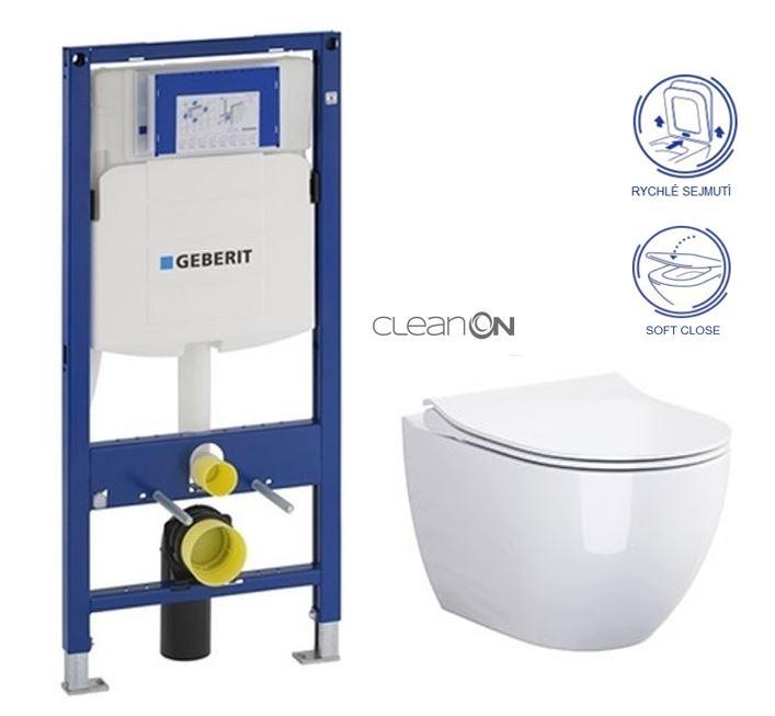 AKCE/SET/GEBERIT - Duofix pro závěsné WC 111.300.00.5 bez ovládaví desky + WC OPOCZNO URBAN HARMONY CLEANON + Sedátko (111.300.00.5 HA1)