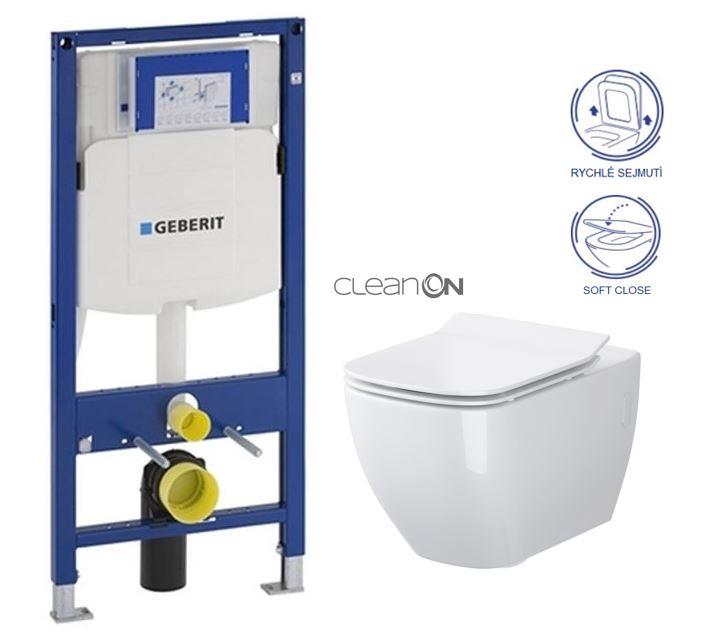 AKCE/SET/GEBERIT - Duofix pro závěsné WC 111.300.00.5 bez ovládaví desky + WC OPOCZNO METROPOLITAN CLEANON + Sedátko (111.300.00.5 ME1)