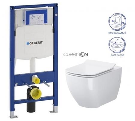 AKCE/SET/GEBERIT - SET Duofix pro závěsné WC 111.300.00.5 bez ovládací desky + WC OPOCZNO METROPOLITAN CLEANON + Sedátko (111.300.00.5 ME1)