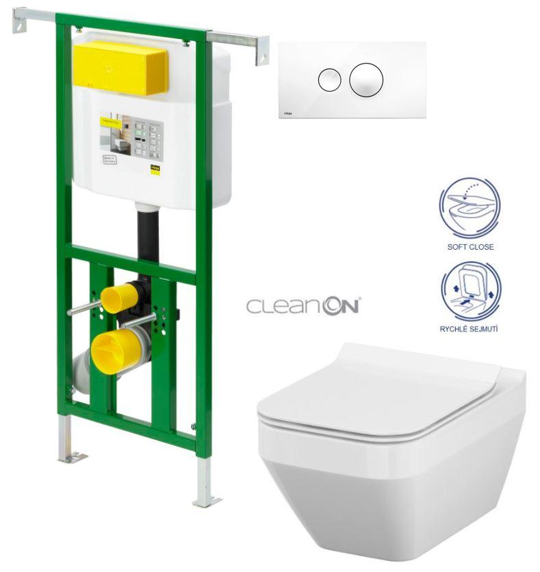 AKCE/SET/VIEGA - Eko PLUS modul do jádra WC čelní ovládání  SET BÍLÉ + ovládací tlačítko BÍLÉ + WC CERSANIT CREA ČTVEREC CLEANON + SEDÁTKO (V622176BI CR2)