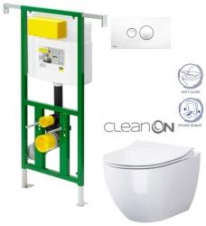 AKCE/SET/VIEGA - Eko PLUS modul do jádra WC čelní ovládání  SET BÍLÉ + ovládací tlačítko BÍLÉ + WC OPOCZNO URBAN HARMONY CLEANON + SEDÁTKO (V622176BI HA1)