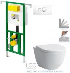 AKCE/SET/VIEGA - Eko PLUS modul do jádra WC čelní ovládání  SET BÍLÉ + ovládací tlačítko BÍLÉ + WC LAUFEN PRO LCC ROMLESS + SEDÁTKO (V622176BI LP2)