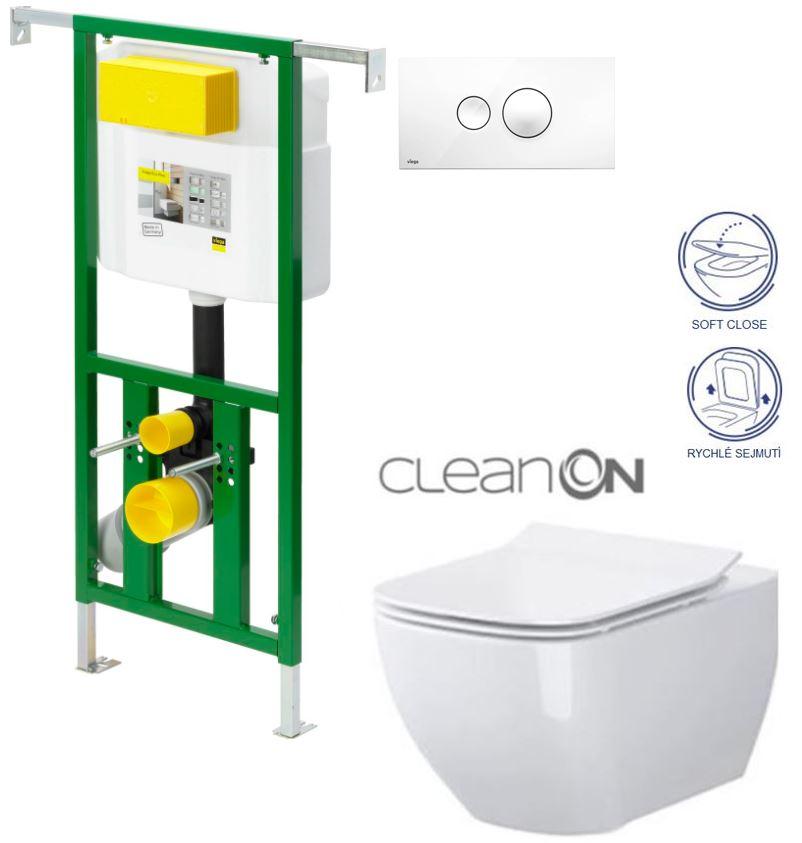 Eko PLUS modul do jádra WC čelní ovládání  SET BÍLÉ + ovládací tlačítko BÍLÉ + WC CERSANIT METROPOLITAN CLEANON + SEDÁTKO (V622176BI ME1) - AKCE/SET/VIEGA