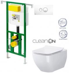 AKCE/SET/VIEGA - Eko PLUS modul do jádra WC čelní ovládání  SET BÍLÉ + ovládací tlačítko BÍLÉ + WC OPOCZNO METROPOLITAN CLEANON + SEDÁTKO (V622176BI ME1)
