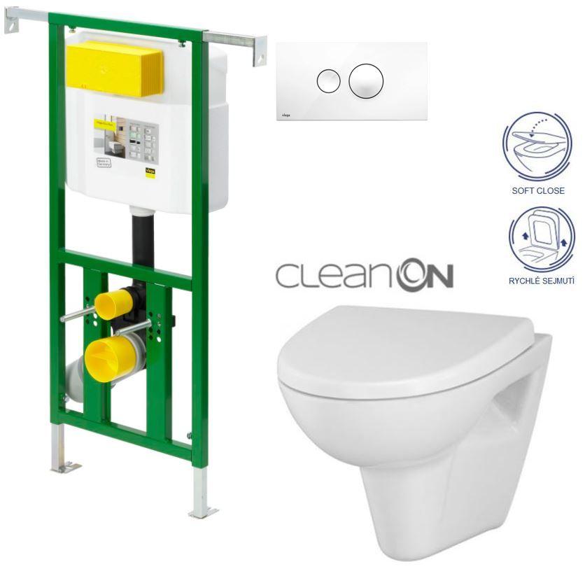 AKCE/SET/VIEGA - Eko PLUS modul do jádra WC čelní ovládání SET BÍLÉ + ovládací tlačítko BÍLÉ + WC CERSANIT PARVA CLEANON + SEDÁTKO (V622176BI PA1)