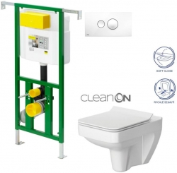 AKCE/SET/VIEGA - Eko PLUS modul do jádra WC čelní ovládání  SET BÍLÉ + ovládací tlačítko BÍLÉ + WC CERSANIT SPLENDOUR CLEANON + SEDÁTKO (V622176BI SP1)