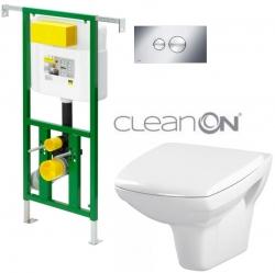 AKCE/SET/VIEGA - Eko PLUS modul do jádra WC čelní ovládání  SET CHROM + ovládací tlačítko CHROM + WC CERSANIT CARINA CLEANON + SETÁTKO (V622176CR CA1)