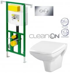 AKCE/SET/VIEGA - Eko PLUS modul do jádra WC čelní ovládání  SET CHROM + ovládací tlačítko CHROM + WC CERSANIT CARINA CLEANON + SEDÁTKO (V622176CR CA2)