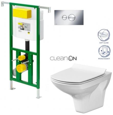 AKCE/SET/VIEGA - Eko PLUS modul do jádra WC čelní ovládání  SET CHROM + ovládací tlačítko CHROM + WC CERSANIT CARINA CLEANON + SEDÁTKO (V622176CR CA3)