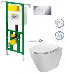 Eko PLUS modul do jádra WC čelní ovládání  SET + ovládací tlačítko CHROM + WC CERSANIT CITY CLEANON + SEDÁTKO (V622176CR CI1) - AKCE/SET/VIEGA