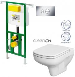 AKCE/SET/VIEGA - Eko PLUS modul do jádra WC čelní ovládání  SET CHROM + ovládací tlačítko CHROM + WC CERSANIT COLOUR CLEANON + SEDÁTKO (V622176CR CN1)