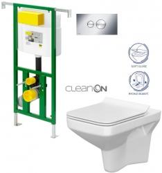 AKCE/SET/VIEGA - Eko PLUS modul do jádra WC čelní ovládání  SET + ovládací tlačítko CHROM + WC CERSANIT COMO CLEANON + SEDÁTKO (V622176CR CO1)