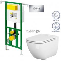 AKCE/SET/VIEGA - Eko PLUS modul do jádra WC čelní ovládání  SET + ovládací tlačítko CHROM + WC CERSANIT CASPIA CLEANON + SEDÁTKO (V622176CR CP1)