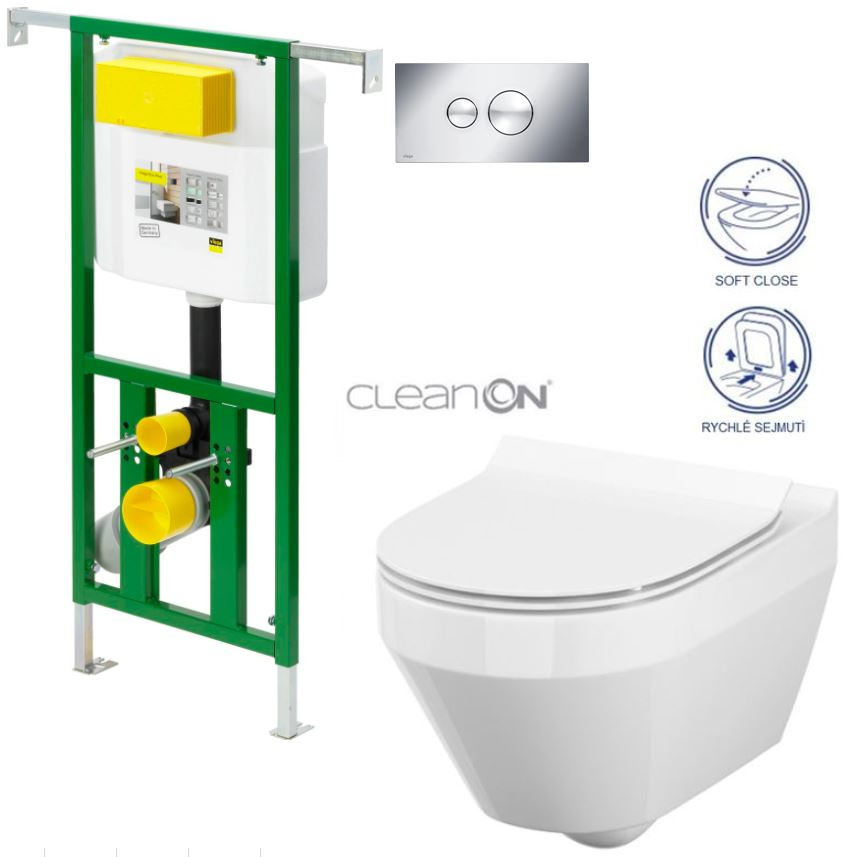 AKCE/SET/VIEGA - Eko PLUS modul do jádra WC čelní ovládání  SET CHROM + ovládací tlačítko CHROM + WC CERSANIT CREA OVÁL CLEANON + SEDÁTKO (V622176CR CR1)