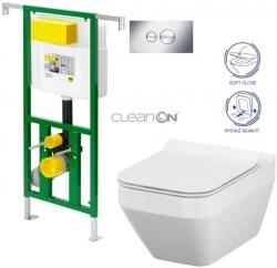 AKCE/SET/VIEGA - Eko PLUS modul do jádra WC čelní ovládání  SET CHROM + ovládací tlačítko CHROM + WC CERSANIT CREA ČTVEREC CLEANON + SEDÁTKO (V622176CR CR2)