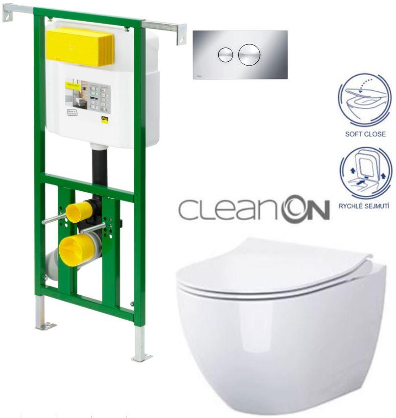 AKCE/SET/VIEGA - Eko PLUS modul do jádra WC čelní ovládání  SET CHROM + ovládací tlačítko CHROM + WC OPOCZNO URBAN HARMONY CLEANON + SEDÁTKO (V622176CR HA1)