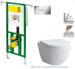AKCE/SET/VIEGA - Eko PLUS modul do jádra WC čelní ovládání  SET CHROM + ovládací tlačítko CHROM + WC LAUFEN PRO RIMLESS + SEDÁTKO (V622176CR LP1)