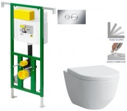 AKCE/SET/VIEGA - Eko PLUS modul do jádra WC čelní ovládání  SET + ovládací tlačítko CHROM + WC LAUFEN PRO + SEDÁTKO (V622176CR LP3)