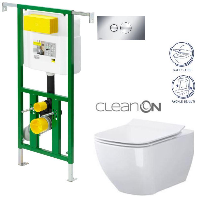 AKCE/SET/VIEGA - Eko PLUS modul do jádra WC čelní ovládání  SET CHROM + ovládací tlačítko CHROM + WC CERSANIT METROPOLITAN CLEANON + SEDÁTKO (V622176CR ME1)