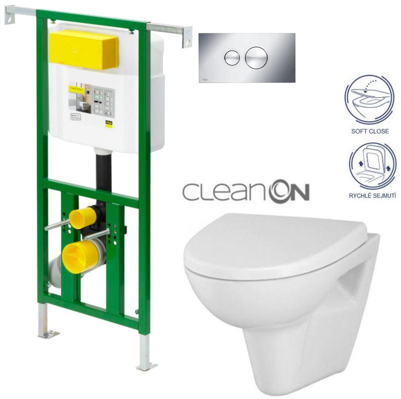 AKCE/SET/VIEGA - Eko PLUS modul do jádra WC čelní ovládání  SET CHROM + ovládací tlačítko CHROM + WC CERSANIT PARVA CLEANON + SEDÁTKO (V622176CR PA1)