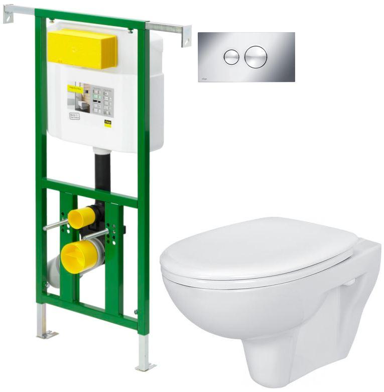 AKCE/SET/VIEGA - Eko PLUS modul do jádra WC čelní ovládání  SET CHROM + ovládací tlačítko CHROM + WC CERSANIT PRESIDENT + SEDÁTKO (V622176CR PR1)