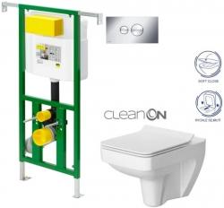 AKCE/SET/VIEGA - Eko PLUS modul do jádra WC čelní ovládání  SET CHROM + ovládací tlačítko CHROM + WC CERSANIT SPLENDOUR CLEANON + SEDÁTKO (V622176CR SP1)