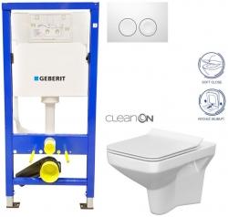 Duofix Sada pro závěsné WC 458.103.00.1 + tlačítko DELTA21 bílé + WC CERSANIT COMO CLEANON + SEDÁTKO (458.103.00.1 21BI CO1) - AKCE/SET/GEBERIT