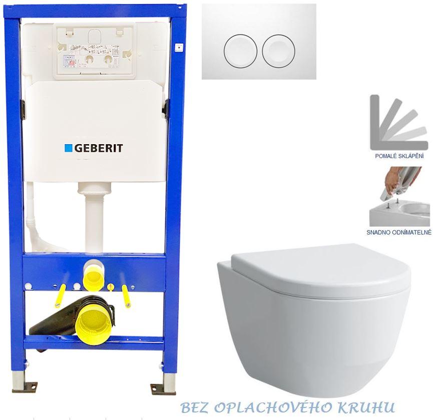 Geberit Duofix tlačítko DELTA21 bílé WC LAUFEN PRO RIMLESS + SEDÁTKO 458.103.00.1 21BI LP1