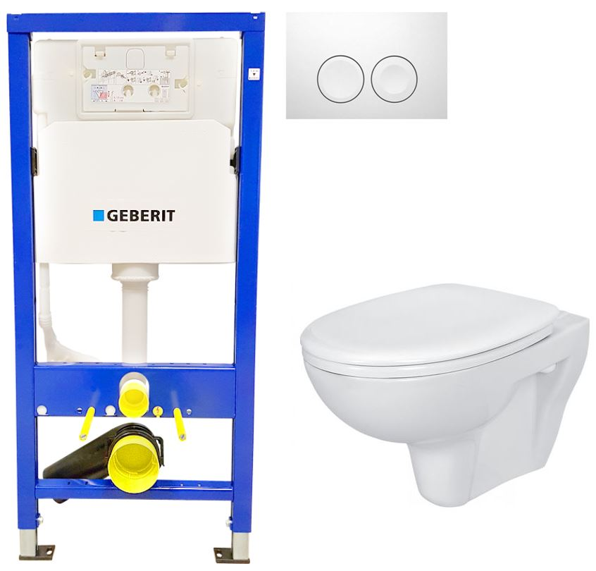 AKCE/SET/GEBERIT - Duofix Sada pro závěsné WC 458.103.00.1 + tlačítko DELTA21 bílé + WC CERSANIT PRESIDENT + SEDÁTKO (458.103.00.1 21BI PR1)