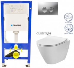 AKCE/SET/GEBERIT - Duofix Sada pro závěsné WC 458.103.00.1 +tlačítko DELTA21 matné + WC CERSANIT CITY CLEANON + SEDÁTKO (458.103.00.1 21MA CI1)
