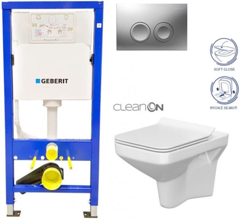 AKCE/SET/GEBERIT - Duofix Sada pro závěsné WC 458.103.00.1 + tlačítko DELTA21 matné + WC CERSANIT COMO CLEANON + SEDÁTKO (458.103.00.1 21MA CO1)