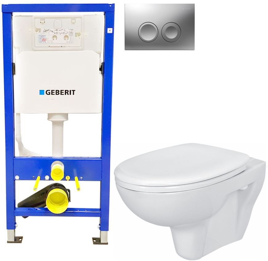 AKCE/SET/GEBERIT - Duofix Sada pro závěsné WC 458.103.00.1 + tlačítko DELTA21 matné + WC CERSANIT PRESIDENT + SEDÁTKO (458.103.00.1 21MA PR1)