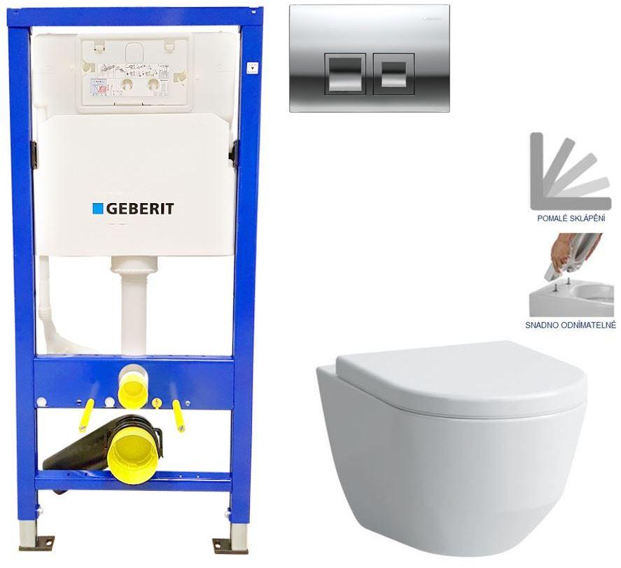 Geberit Duofix tlačítko DELTA50 CHROM WC LAUFEN PRO + SEDÁTKO 458.103.00.1 50CR LP3