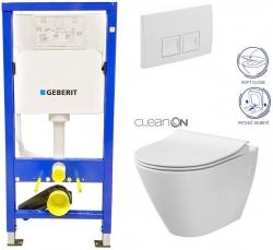 AKCE/SET/GEBERIT - Duofix Sada pro závěsné WC 458.103.00.1 + tlačítko DELTA50 bílé + WC CERSANIT CITY CLEANON + SEDÁTKO (458.103.00.1 50BI CI1)