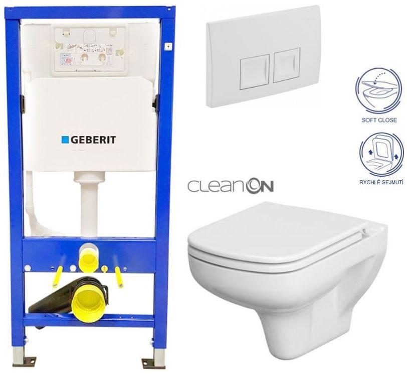 AKCE/SET/GEBERIT SET Duofix Sada pro závěsné WC 458.103.00.1 + tlačítko DELTA50 bílé + WC CERSANIT COLOUR CLEANON + SEDÁTKO 458.103.00.1 50BI CN1
