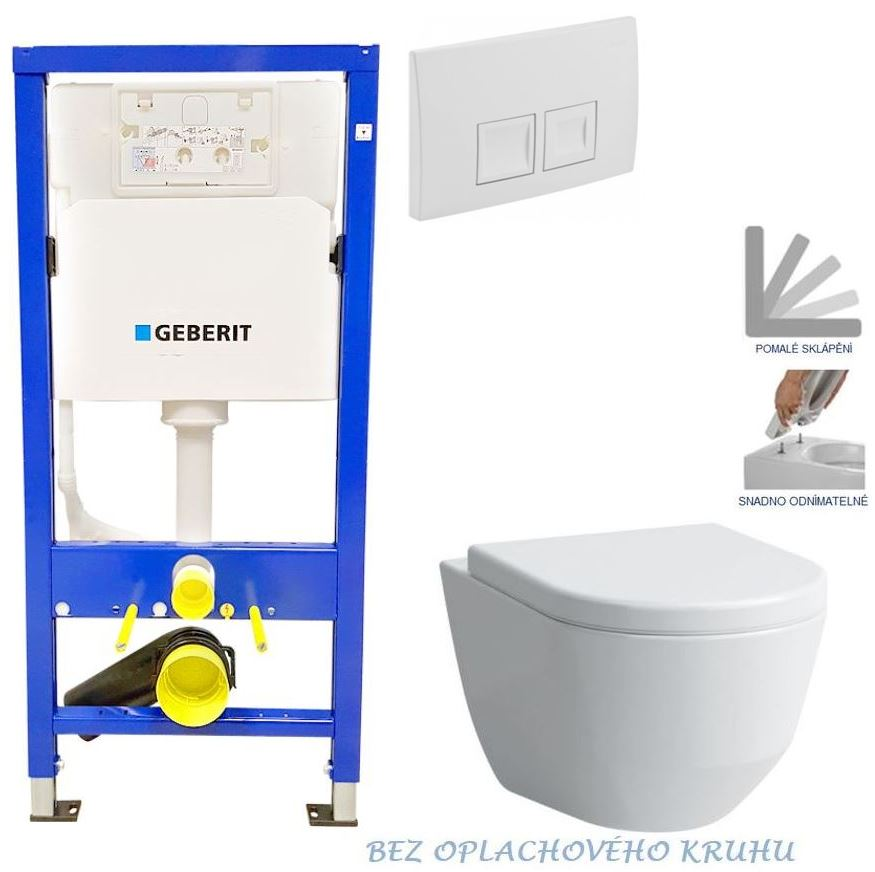 AKCE/SET/GEBERIT - Duofix Sada pro závěsné WC 458.103.00.1 + tlačítko DELTA50 bílé + WC LAUFEN PRO ROMLESS + SEDÁTKO 458.103.00.1 50BI LP1
