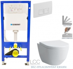 AKCE/SET/GEBERIT - Duofix Sada pro závěsné WC 458.103.00.1 + tlačítko DELTA50 bílé + WC  LAUFEN PRO LCC RIMLESS + SEDÁTKO (458.103.00.1 50BI LP2)