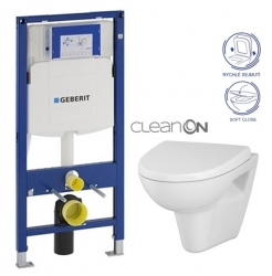 AKCE/SET/GEBERIT - Duofix pro závěsné WC 111.300.00.5 bez ovládací desky + WC CERSANIT PARVA NEW CLEANON + Sedátko (111.300.00.5 PA1)